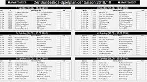 Bundesliga 2020/2021, der spielplan der gesamten saison: Bundesliga Spielplan Als Pdf Hier Kostenlos Zum Download Und Drucken Sportbuzzer De
