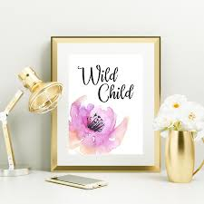 Wild Child Floral Design Wild Child Art Print Pink Watercolor Flower Wall Decor