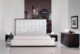 white full leather ludlow bedroom set w oversized headboard bed
