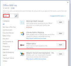 search using the word math and you can find fmath editor on add