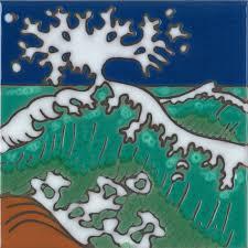 painted tile designs. Ocean Wave - Hand Painted Art Tile Designs