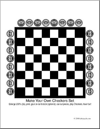 Small Picture Clip Art Make Your Own Checkers Set coloring page I abcteach