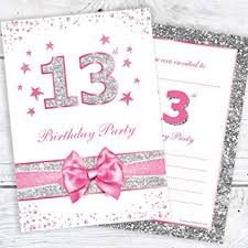 13th Party Invitations Olivia Samuel 13th Birthday Party Invitations Teenager Thirteenth Pink Sparkly Invites Photo Effect Silver Glitter Design A6 Postcard Size With