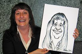 woman holding caricature