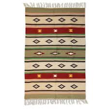 handmade wool multicolored rug from india 4x6 sunset memories