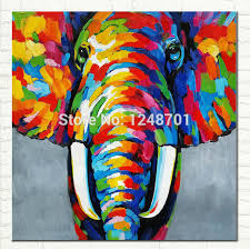 pop art hand painted elephant oil painting on canvas african abstract art wildlife for modern wall