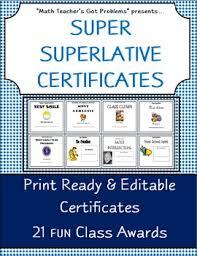 Superlative Certificate Superlatives Certificates Teaching Resources Teachers Pay Teachers