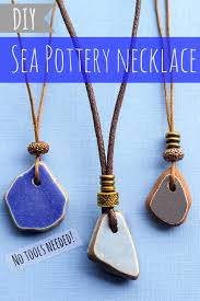 diy sea pottery necklace with adjule sliding cord