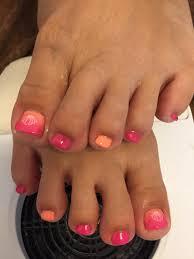 フットジェルネイル ピンク オレンジ グラデーション ワンカラー シェル