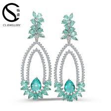 latest model fashion zircon chandelier earrings brass copper earring findings