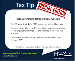 Tax Tip Special Edition Updated 2018 Income Tax