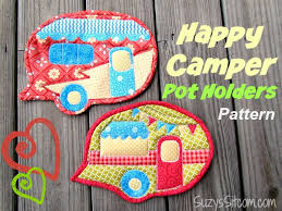 Happy Camper Quilted Pot Holders! & camper pot holders free pattern Adamdwight.com