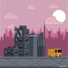 fotografía pixelated urban videogame scenery vector ilration graphic design europosters es