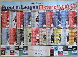 Premier League Wall Chart Match Issue 2033 Football News 2019 20 Season Wallchart
