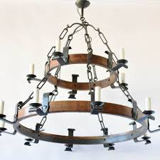 very large wood iron ring chandelier 4 750