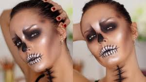 easy glam glossy skull makeup tutorial