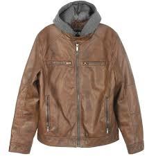 guess faux leather detachable hood brown zip moto jacket gue111au mens size 2xl