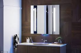 the bathroom mirror is equipped with alexa allowing you to stream get