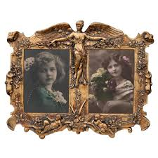gold angel double photo frame
