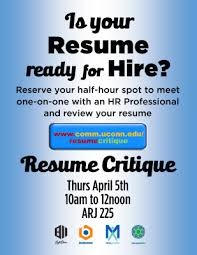 Resume Critique Best Resume Critique Event Department Of Communication