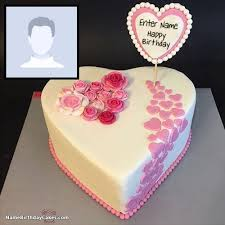 happy birthday cake with photo edit name