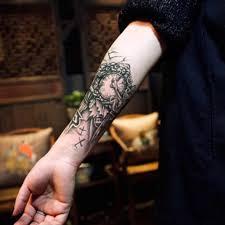 черные часы тату для мужчин временная большая механическая рука нога