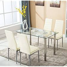table 4 chairs set. 5pc glass dining table with 4 chairs set metal kitchen furniture
