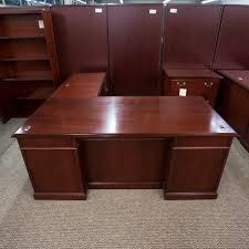 used kimball right 72 l shaped executive office desk walnut del1522