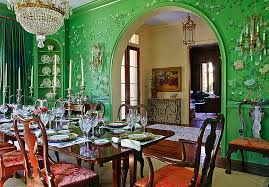 green dining rooms. ornate asian style dining room in green [from: chad chenier photography] rooms d