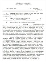 Apartment Sublease Template Sublease Agreement 22 Download Free Documents In Pdf Word