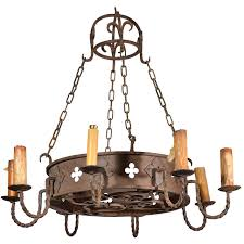 round antique iron chandelier from france circa 1900