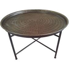 coffee table silver hammered metal round industrial