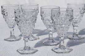 Fostoria Crystal Patterns Awesome Vintage Crystal Clear Fostoria Wine Glasses American Cube Pattern W