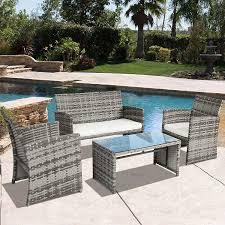 com best choice s 4 piece outdoor garden patio cushioned seat mix gray wicker sofa furniture set garden outdoor