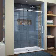 DreamLine Enigma Air 56-in to 60-in W Frameless Brushed Stainless Steel  Sliding