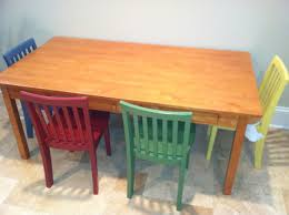 green and white stained hardwood preschool table and chairs for toddler with wooden