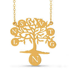 mother s cut out initial disc family tree necklace in sterling silver with 14k gold plate 1 7 lines