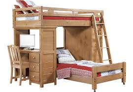 Creekside Taffy Twin Twin Student Loft Bed w Desk with Chest Bunk