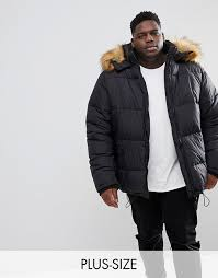 river island big and tall puffer coat with faux fur trim in black clothing jackets coats