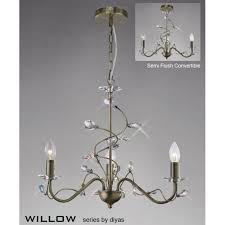 willow 3 light antique brass chandelier with crystal decoration