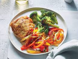 Light Supper Ideas Chicken Thighs With Peperonata And Roasted Broccoli