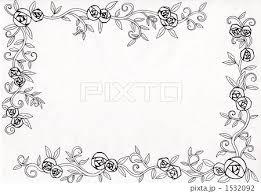 花 フレーム 白黒 白バックのイラスト素材 Pixta