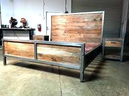 Rustic Metal Bed Frame Wood And Metal Bed Frame Slat Platform Rustic ...