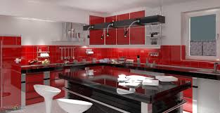 black and red kitchen designs. Modern Red Kitchen Design With Black Backsplash And White Tile Designs