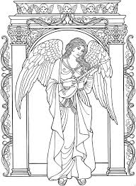 Beautiful Angel Coloring Page Line Art Angel Coloring Pages