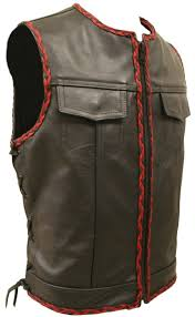 soa style side lace all leather black and red braiding vest