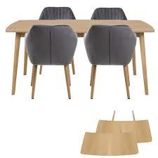 Essgruppe Esstisch Massivholz Eiche 180 Cm Mit 4 Samt Stühlen Grau