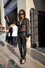 leather pants office look