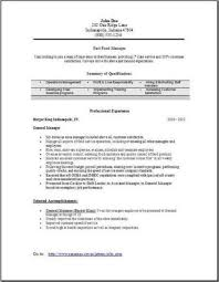 Fast Food Restaurant Manager Resume Fast Food Manager Resume Occupational Examples Samples