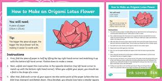 How To Make A Lotus Flower Out Of Paper Ks2 Origami Lotus Flower Craft Instructions